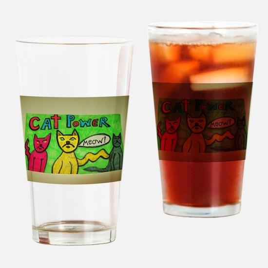 CAT POWER cartoon artwork design. Drinking Glass