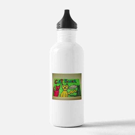 CAT POWER cartoon artwork design. Water Bottle
