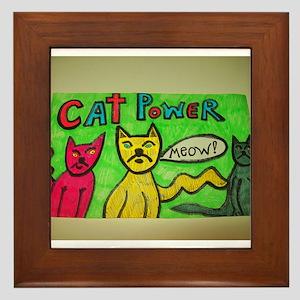 CAT POWER cartoon artwork design. Framed Tile