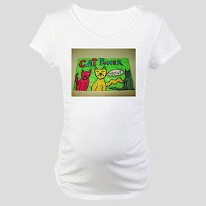 CAT POWER cartoon artwork design. Maternity T-Shir