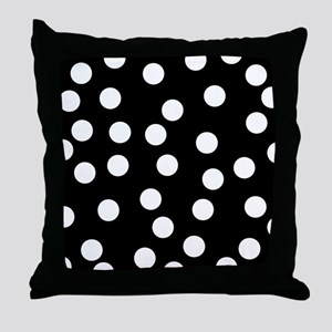 Spotty Pattern on Black. Throw Pillow
