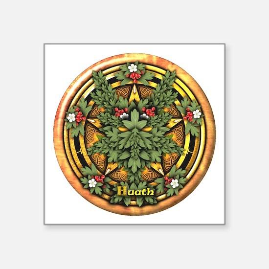 Hawthorn Celtic Greenman Pentacle Square Sticker 3