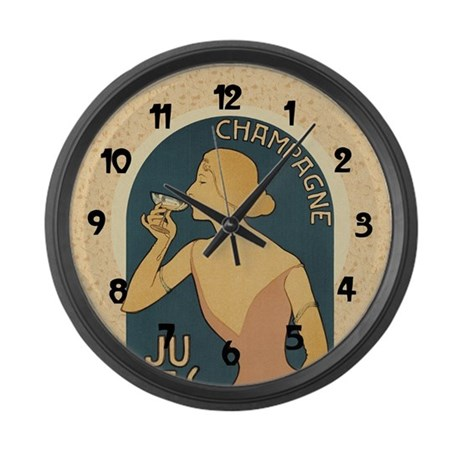 Vintage Champagne Art Large Wall Clock