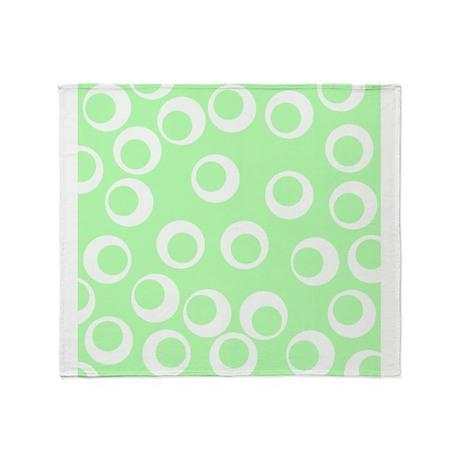 Ring Pattern, Mint Green. Throw Blanket