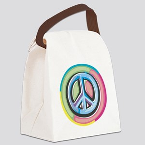 Colorful Peace Sign Canvas Lunch Bag