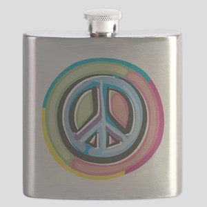 Colorful Peace Sign Flask