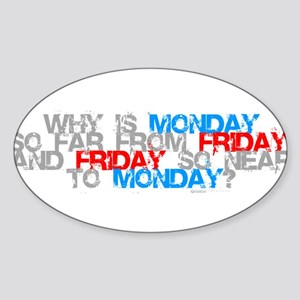 Friday is too close to monday Sticker (Oval)