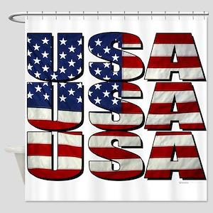 USA USA USA 4th July Shower Curtain
