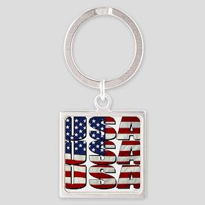 USA USA USA 4th July Square Keychain