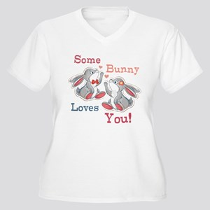 Some Bunny Loves You Women's Plus Size V-Neck T-Sh