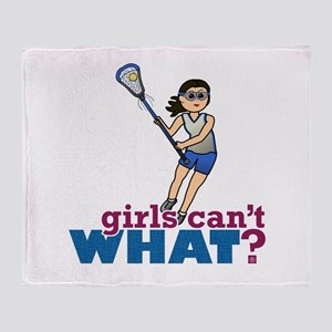 Girl Lacrosse Player in Blue Throw Blanket