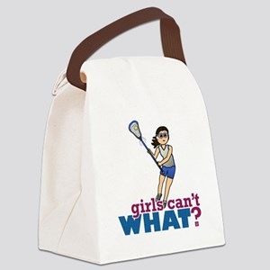 Girl Lacrosse Player in Blue Canvas Lunch Bag