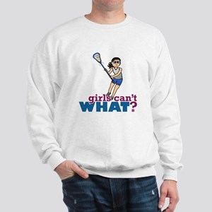 Girl Lacrosse Player in Blue Sweatshirt