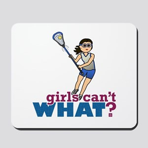 Girl Lacrosse Player in Blue Mousepad