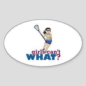 Girl Lacrosse Player in Blue Sticker (Oval)