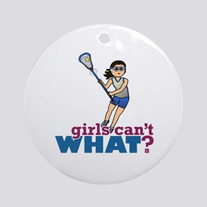 Girl Lacrosse Player in Blue Ornament (Round)