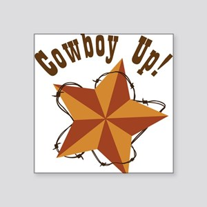 "Cowboy Up Square Sticker 3"" x 3"""
