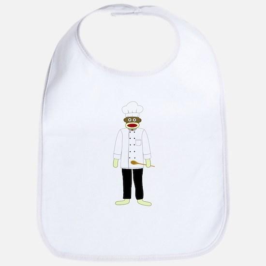 Sock Monkey Chef Baby Bib