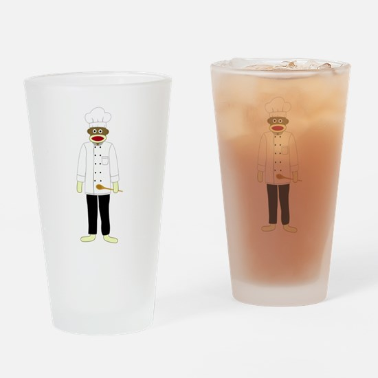Sock Monkey Chef Drinking Glass