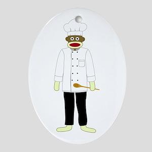 Sock Monkey Chef Ornament (Oval)