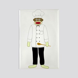 Sock Monkey Chef Rectangle Magnet