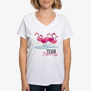 Team Flamingo Women's V-Neck T-Shirt