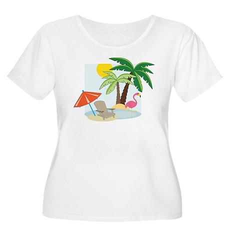 Summer Beach Women's Plus Size Scoop Neck T-Shirt