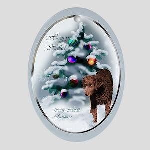 Curly Coated Retriever Christmas Oval Ornament