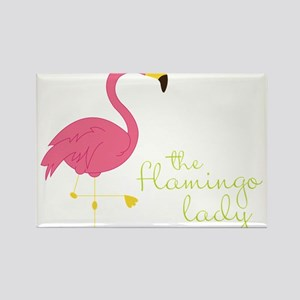 The Flamingo Lady Rectangle Magnet