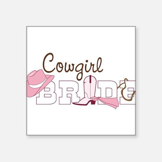 """Cowgirl Bride Square Sticker 3"""" x 3"""""""