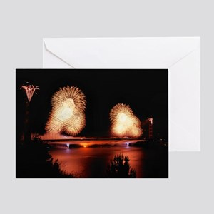 Fireworks - GG Bridge Greeting Card