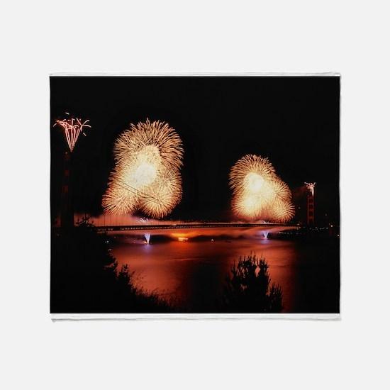 Fireworks - GG Bridge Throw Blanket