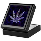 Blue flame marijuana leaf Square Keepsake Boxes