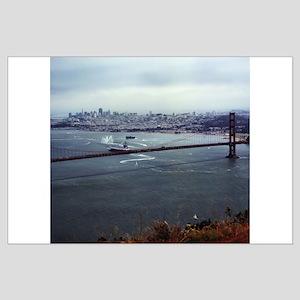 USS Nimitz - Golden Gate Bridge Large Poster