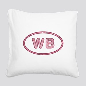 WB Pink Square Canvas Pillow