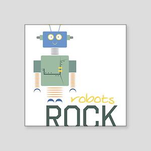 "Robots Rock Square Sticker 3"" x 3"""