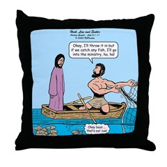 Fishing with Jesus Throw Pillow