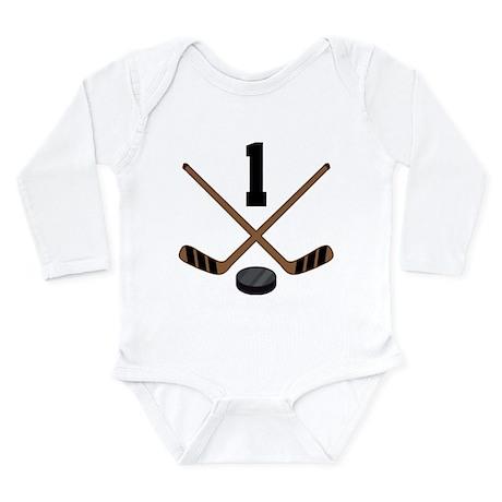 Hockey Player Number 1 Long Sleeve Infant Bodysuit