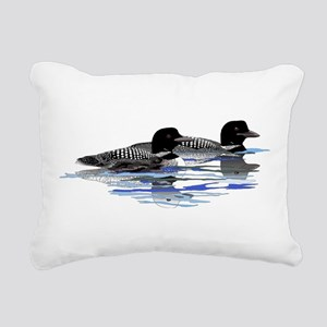 Loon family Rectangular Canvas Pillow