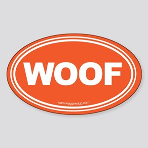 Wag More Bark Less Black Sticker (Oval)