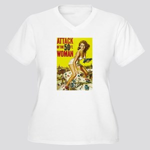 Vintage Attack Woman Comic Women's Plus Size V-Nec