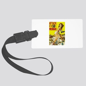 Vintage Attack Woman Comic Large Luggage Tag