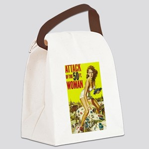 Vintage Attack Woman Comic Canvas Lunch Bag
