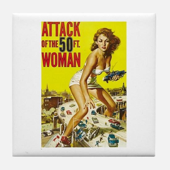 Vintage Attack Woman Comic Tile Coaster