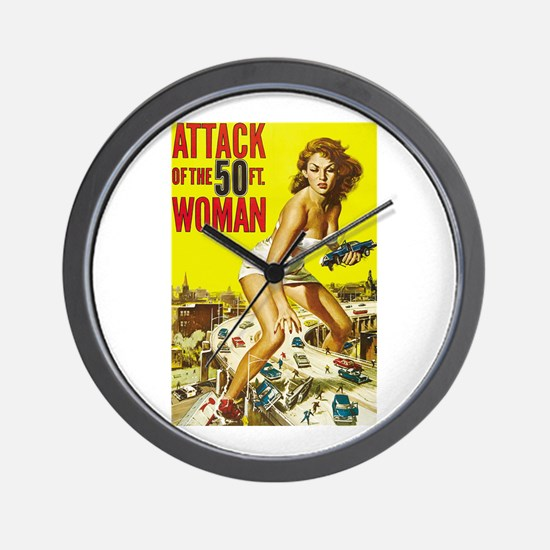 Vintage Attack Woman Comic Wall Clock