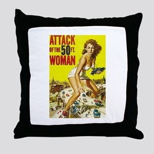 Vintage Attack Woman Comic Throw Pillow