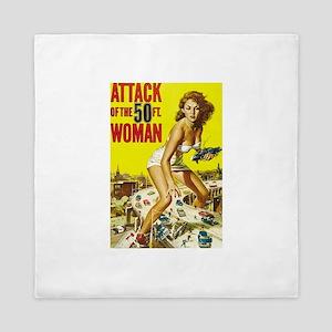 Vintage Attack Woman Comic Queen Duvet
