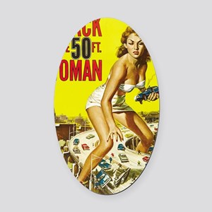 Vintage Attack Woman Comic Oval Car Magnet