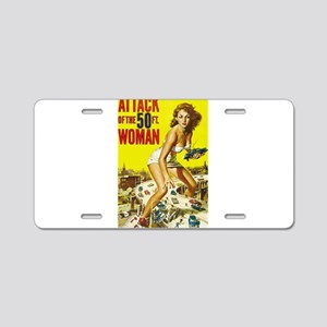 Vintage Attack Woman Comic Aluminum License Plate