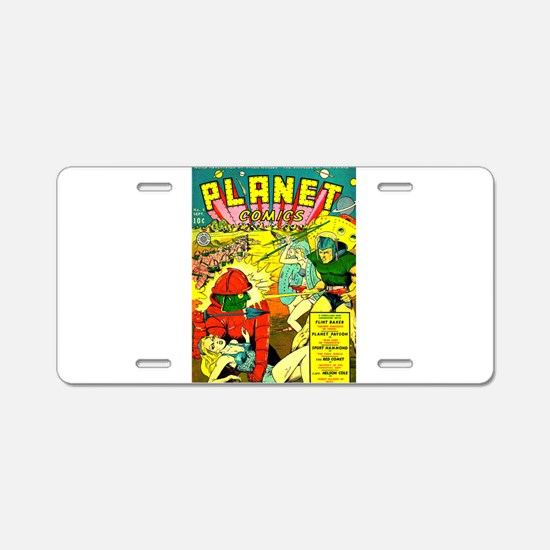 Vintage Alien Invasion Comic Aluminum License Plat